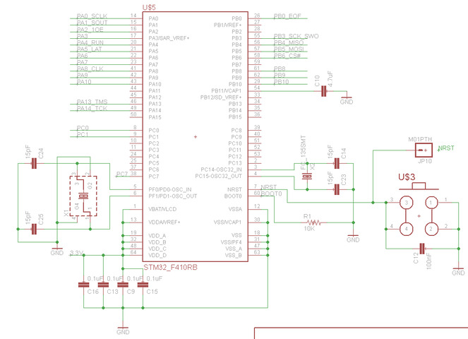 Minimal configuration of STM32F410RB to enable recognition ... on