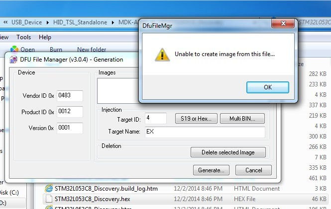 DFU File Manager: Unable to create image from this file