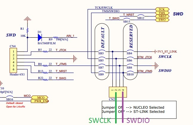 Programming a Nucleo board using SWD connector and STM32 ST