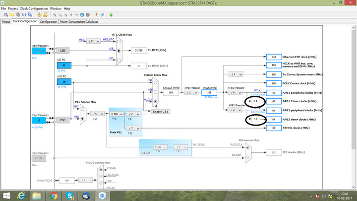 How to edit APB1, APB2 Timer Multiplier value in stm32cubeMX GUI?
