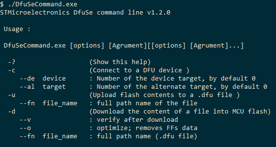 commands to automate Dfuse3 0 5 on STM32