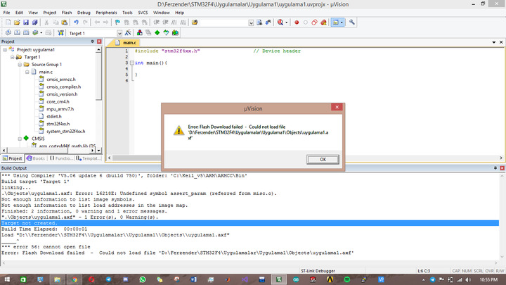 Flash Download failed - Could not load file  axf Issue