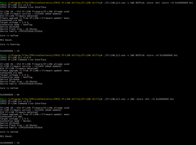 Core is Halted after connecting using ST-Link CLI with HOTPLUG option